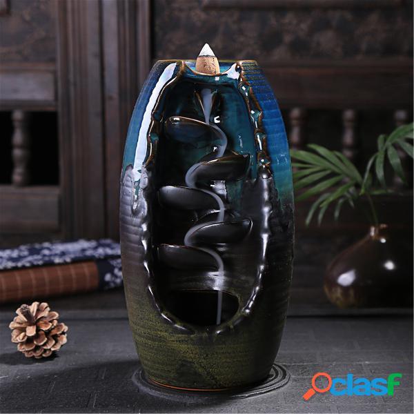 Support en céramique d'encens de brûleur d'encens de reflux de cascade + 10 encens de cône