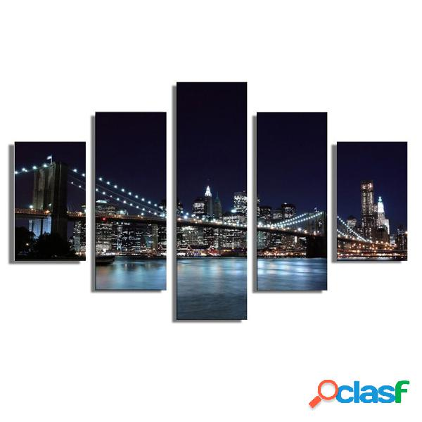 5pcs paysage new york city peinture image canvas print home decor wall art