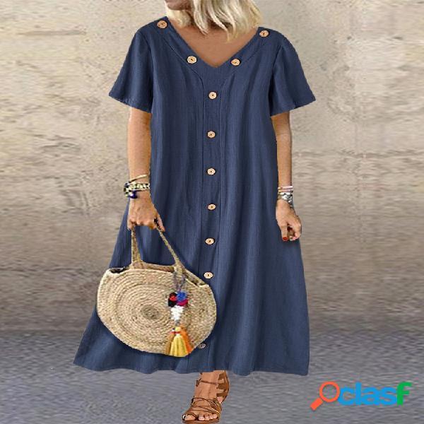 Robe maxi ample couleur unie pour femme