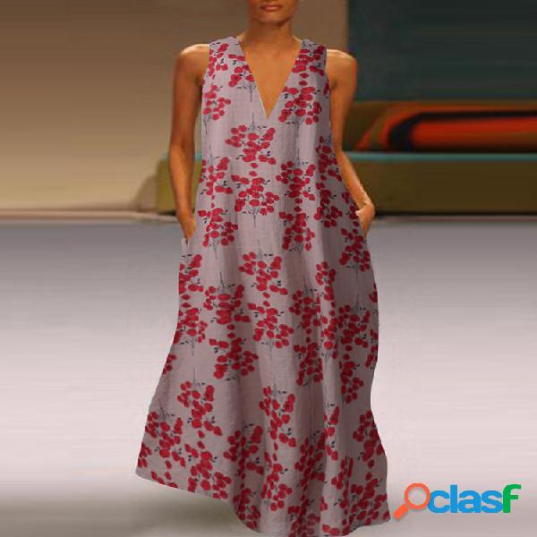 Robe maxi sans manches à col en v et imprimé fleurs pour femme
