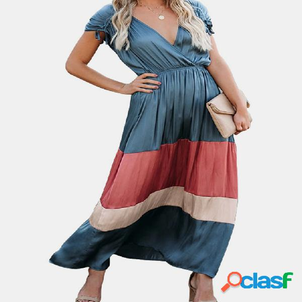 Robe maxi décontractée sans manches en patchwork de couleur contrastée pour femme