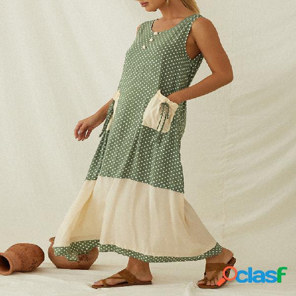 Robe maxi sans manches patchwork imprimé pois pour femme