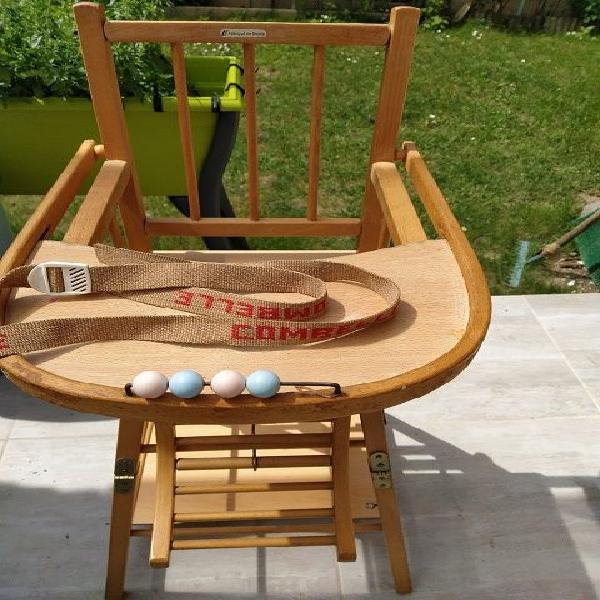 Chaise haute en bois combele transformable en chaise basse
