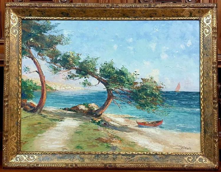 Grande peinture huile sur toile bord de mer a saint tropez