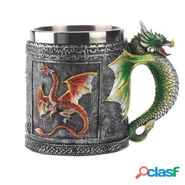 De noël 3d nouveauté médiévale dragon mug tasse coupe double mur en acier inoxydable tasses à café et tasses