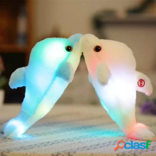 La poupée lumineuse de dauphin de peluche de 32cm incandescent la lumière led joue de l'oreiller coloré coloré de poupée d'animal familier