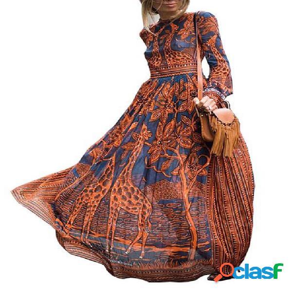 Robe maxi vintage à manches longues et imprimé bohème pour femme