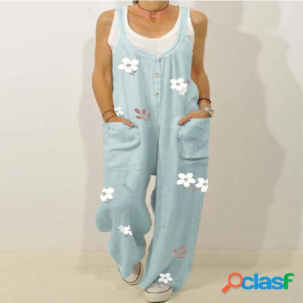 Bouton imprimé floral bretelles lâche combinaison décontractée pour les femmes