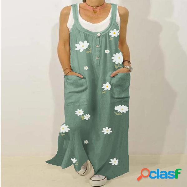 Robe maxi vintage à bretelles à imprimé floral pour femme