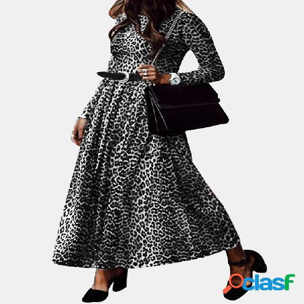 Robe maxi à manches longues et col léopard pour femme