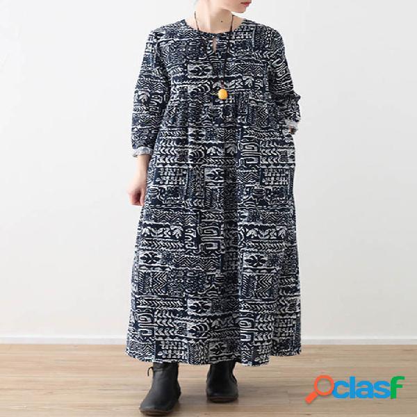 Robe maxi ample à manches longues et imprimé ethnique pour femme