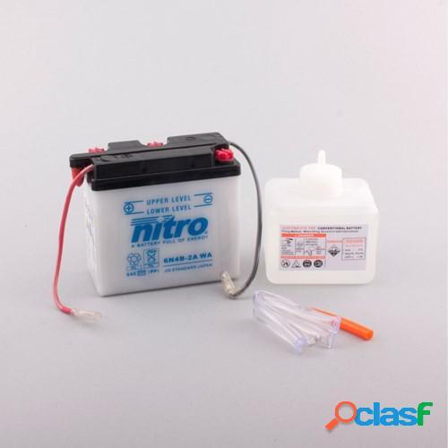Nitro batterie 6v conventionnelle avec flacon d'acide, moto & scooter, 6n4b-2a