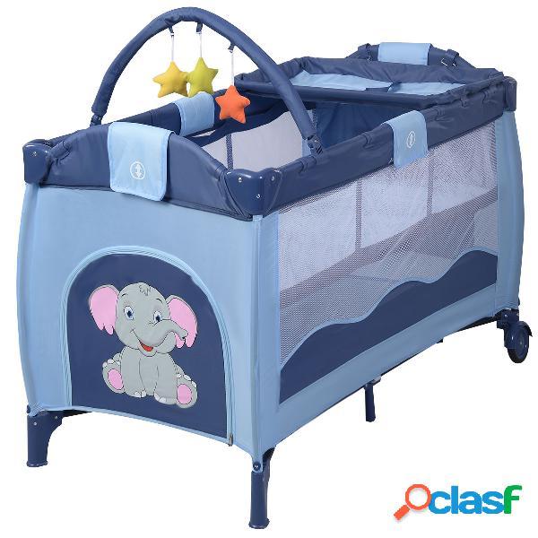 Costway lit bébé pliable de voyage lit parapluie multi-fonction portable motif eléphant bleu 120x60x78cm