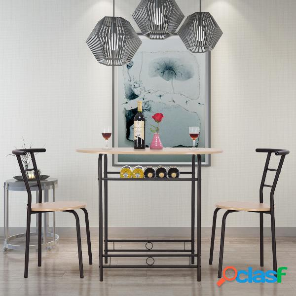 Ensemble table de salle à manger cuisine 1 table et 2 chaises couleur nature