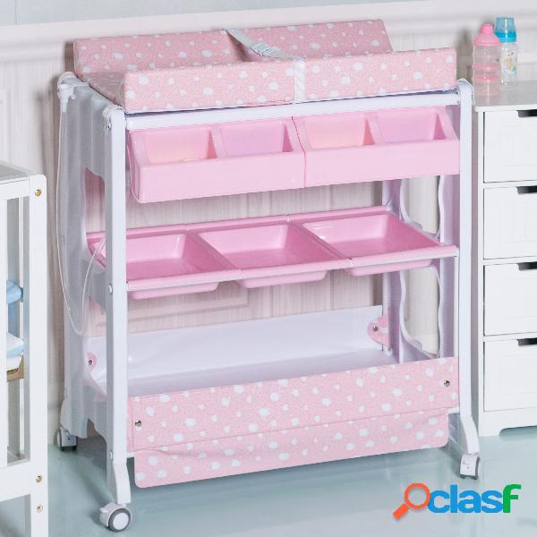 Table à langer avec baignoire bébé rangement matelas à langer rose