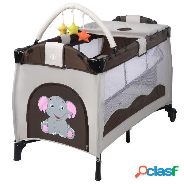 Costway lit bébé pliable de voyage lit parapluie multi-fonction portable motif eléphant brun