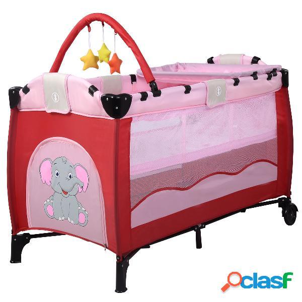 Costway lit bébé pliable de voyage lit parapluie multi-fonction portable motif eléphant rose