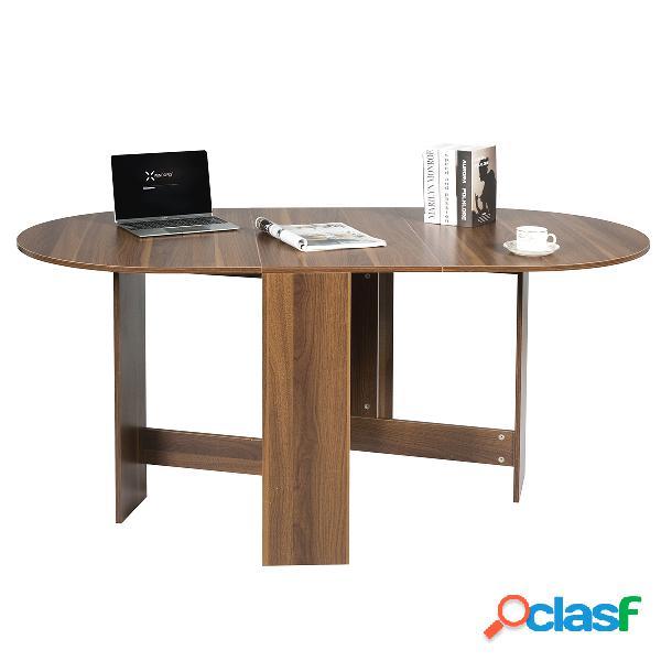 Costway table de salle à manger pliable en bois 163 x 80 x 75cm bois naturel foncé