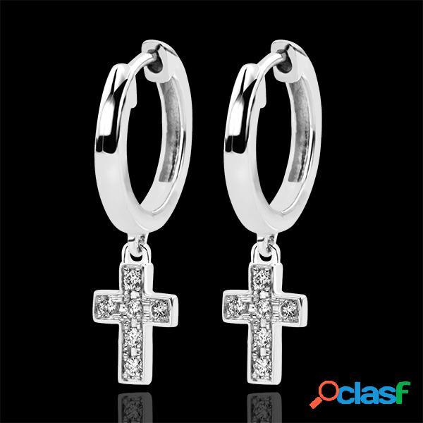 Boucles d'oreilles abondance - croix diamantã©e - or blanc 9 carats et diamants