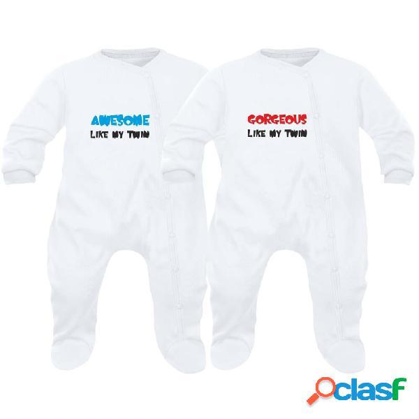 2 pyjamas bébé jumeaux: awesome like my twin / gorgeous like my twin