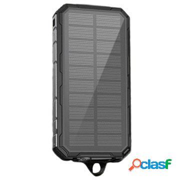 Power bank / chargeur solaire résistant à l'eau - 20000mah - noir