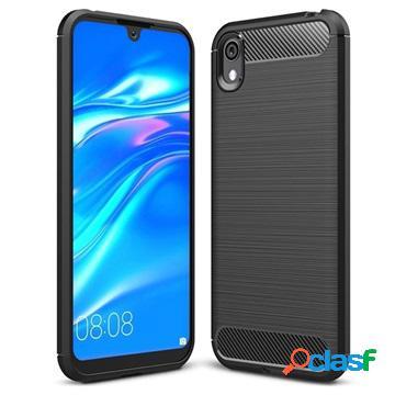 Brushed huawei y5 (2019), honor 8s tpu case - carbon fiber - black