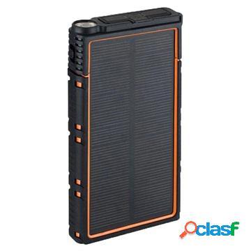 Chargeur solaire étanche avec double usb - 10000mah - orange / noir