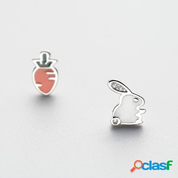 Boucles d'oreilles asymétrique en lapin carotte en argent 925 boucles d'oreilles en zircone tendance