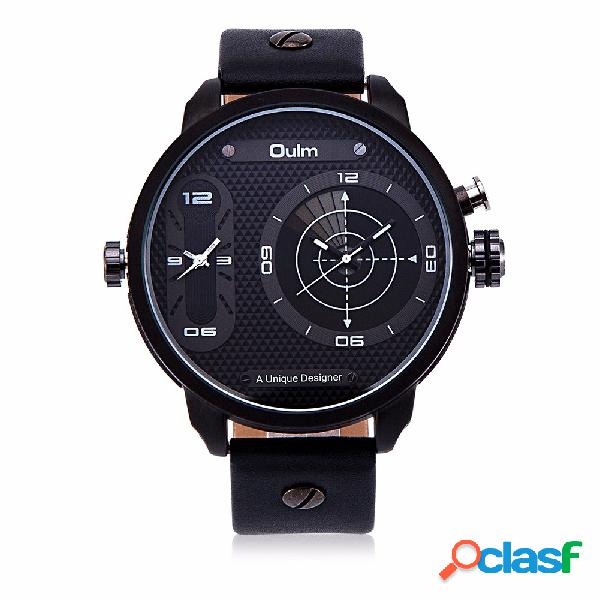Oulm montre homme montre alloy leather two movement sport montre hommes