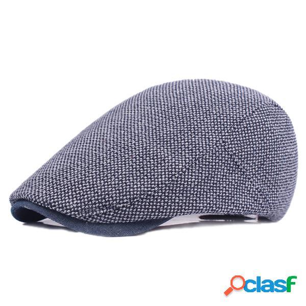 Homme chapeau coton couleur unie casquette plate décontractée avec protection solaire béret visière devant pour voyage