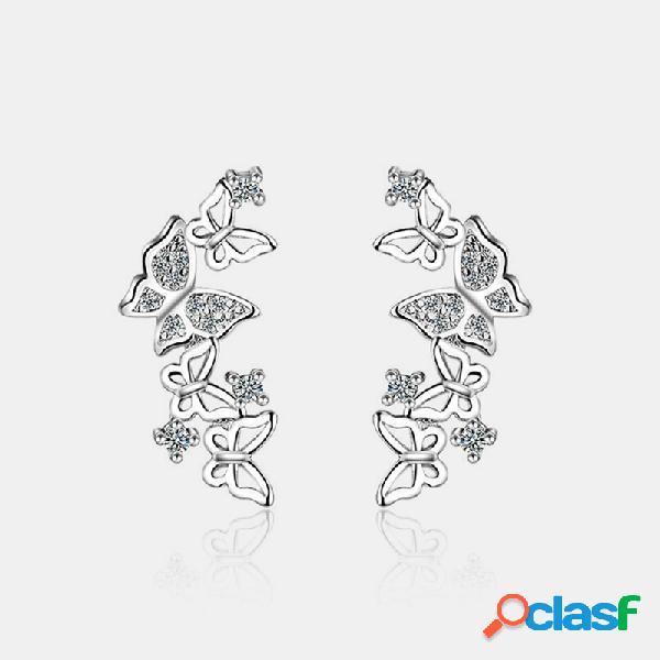 Boucles d'oreilles papillon en argent 925 élégant géométrique creux strass papillon oreille stud