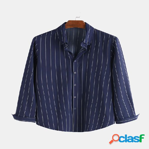 Chemises à manches longues rayées à manches longues pour hommes