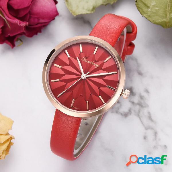 À la mode cadran montre à quartz en cuir pu montre des femmes étanche montre en or rose