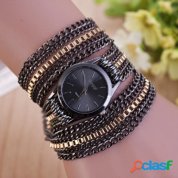 À la mode mental winding chain watch en alliage d'or bracelet montre à quartz pour les femmes montre de taille