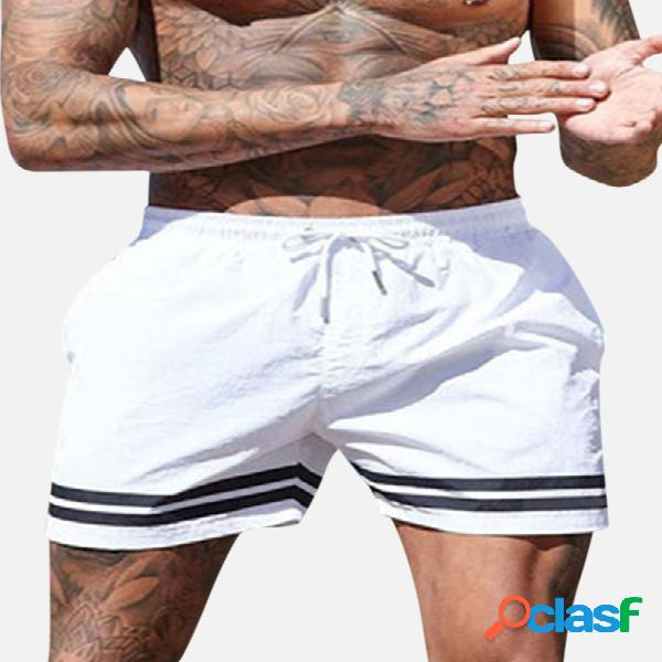 Mens board shorts beach sports running imperméable fashion solid color striped drawstring trunks