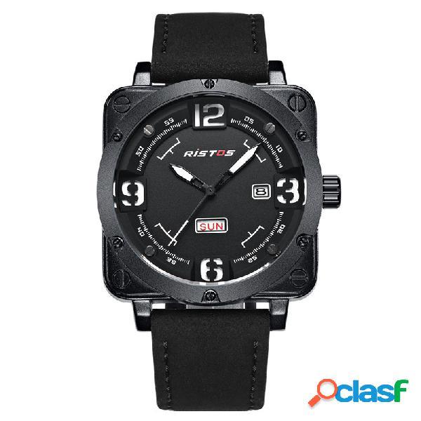 Affichage multifonctionnel de la date des hommes lumineux montre bracelet en cuir de sport étanche montre électronique