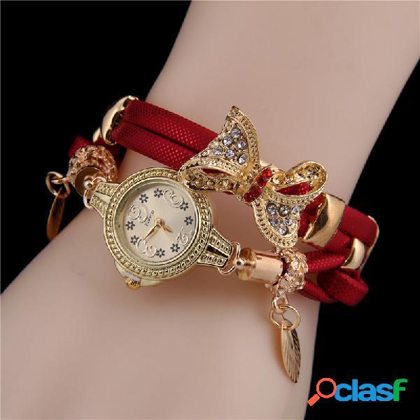 À la mode strass noeud pendentif montre bracelet en cuir multicouche bracelet montre bijoux vintage