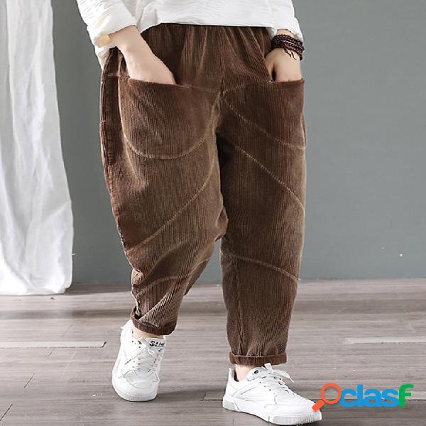 Pantalon femme en velours côtelé à taille élastique