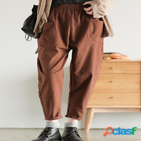 Pantalon femme vintage simple uni
