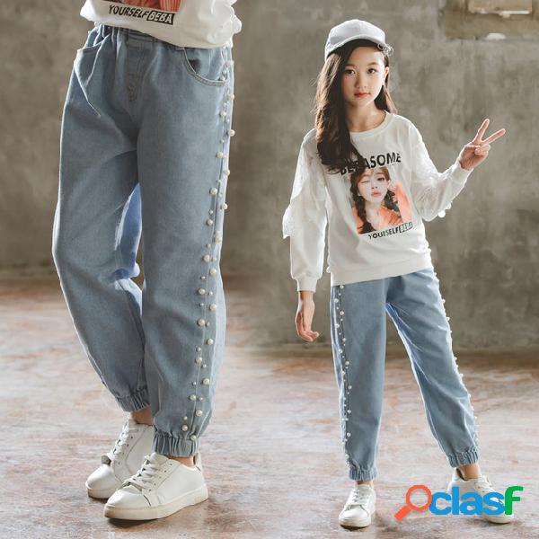 Nouveaux pantalons pour enfants chaofan les filles portent des pantalons grands enfants enfants jeans pearl jeans vêtements enfants