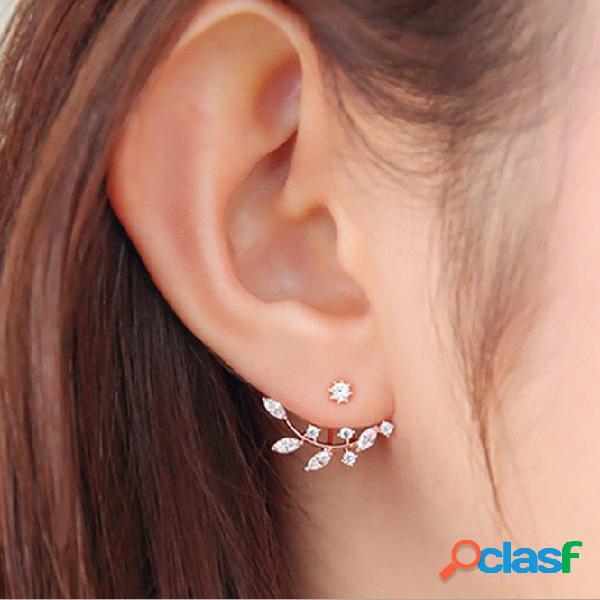 Boucles d'oreilles en argent 925 à feuilles d'aiguille clous d'oreilles en zircon avec strass accessoires pour veste