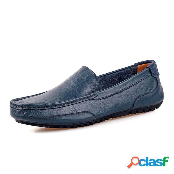 Homme mocassin cuir couleur pure à enfiler chaussures plates de paresseux pour conduire
