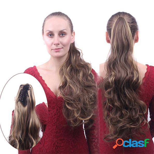 Longue queue de cheval bouclés clip flip queues de cheveux extensions de cheveux de couleur multiple wrap sur postiches