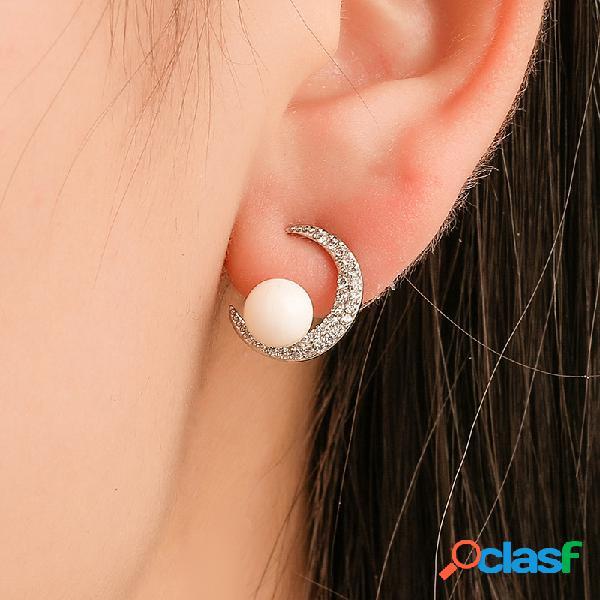 Boucles d'oreilles à la mode perle de lune boucles d'oreille géométriques micro zircon en argent 925 géométrique