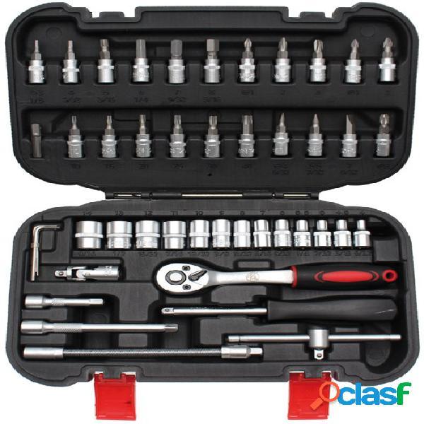 Bgs technic jeu de clés à douilles 1/4, 46-pièces, set et accessoires
