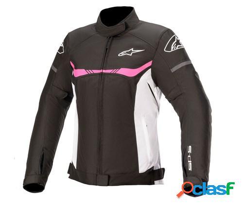ALPINESTARS Stella T-SPS Waterproof Jacket, Veste moto textile femmes, Noir-Blanc-Fuchsia