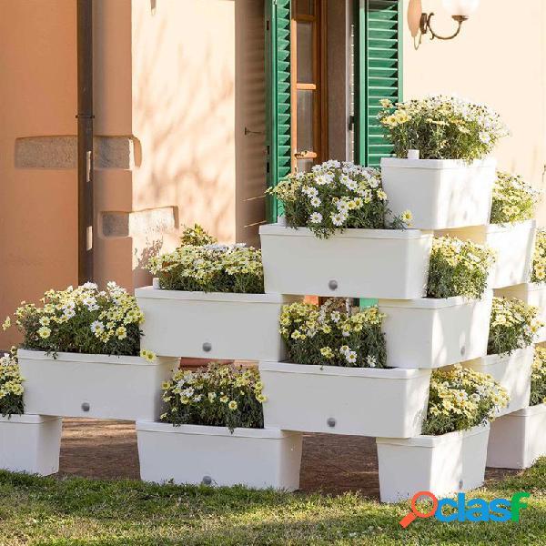 Bama brick lot de 5 jardinières - blanc