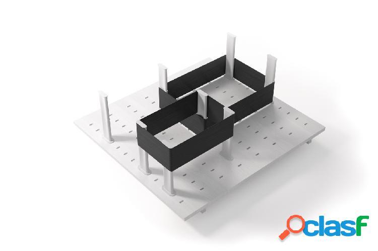 Système de rangement tiroir avec élastiques - bois laqué blanc - 48cm