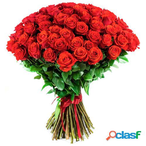 Rose rouge longue tige