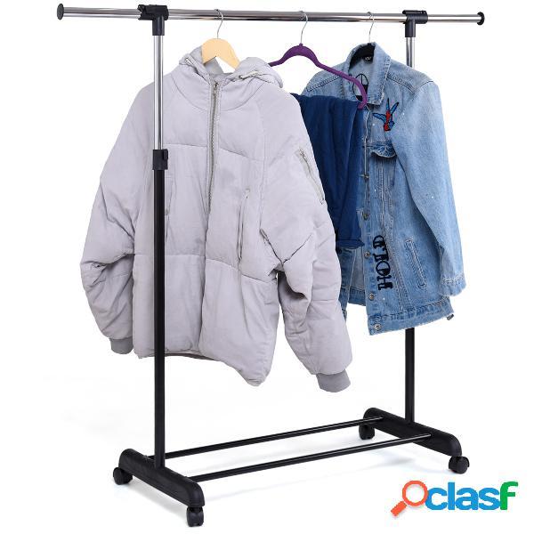 Portant penderie à vêtements mobile télescopique en acier inoxydable hauteur et largeur réglables capacité 90kg roulettes